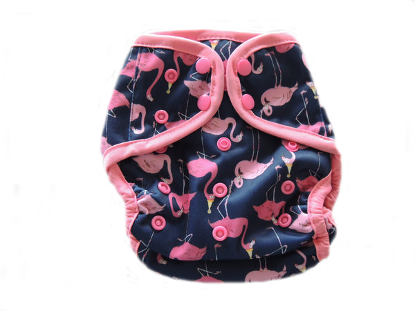 Diaper Cover With Double Gussets - Flamingos on Black