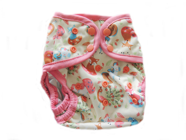 Diaper Cover With Double Gussets - Foxes