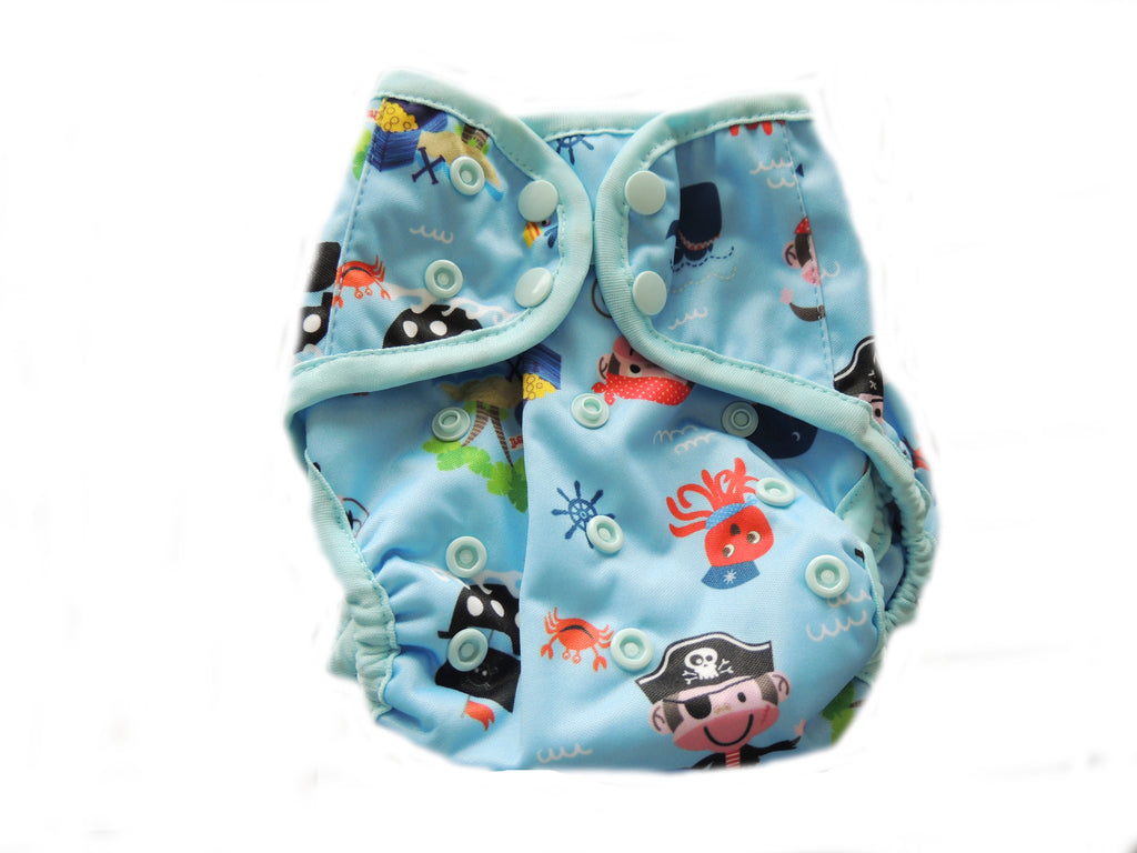 Diaper Cover With Double Gussets - Pirates