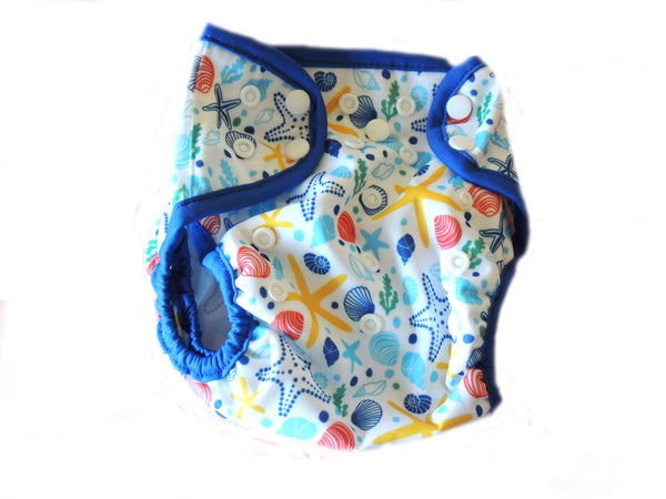 Diaper Cover With Double Gussets - Seashel