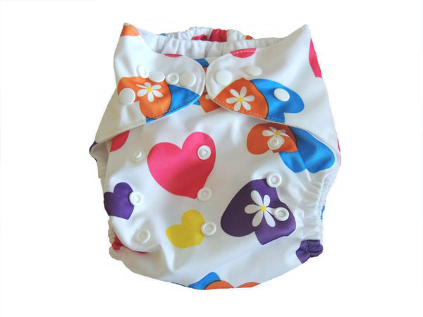 Pocket Cloth Diaper With Double Gussets - Hearts