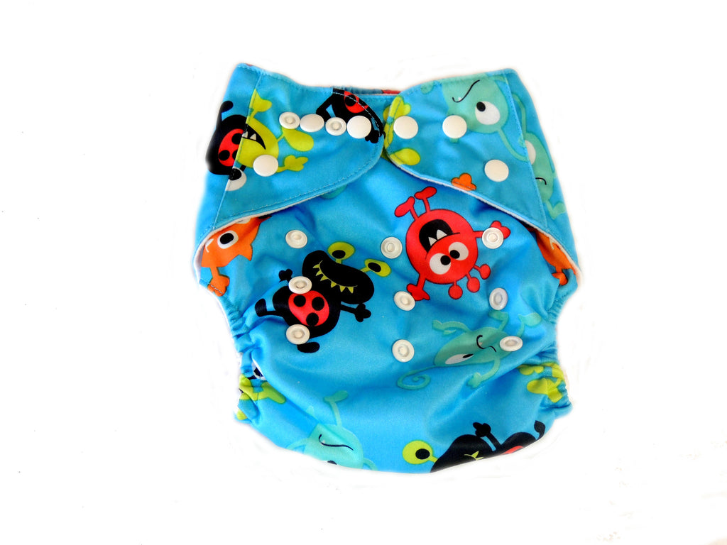Newborn AIO Diaper With Double Gussets - Monsters