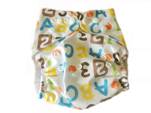 Pocket Diaper With Double Gussets - Alphabet