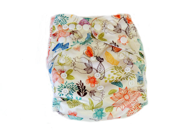 Newborn AIO Diaper With Double Gussets - Beige Paisley