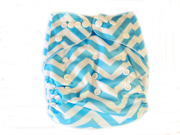 Newborn AIO Diaper With Double Gussets - Blue Chevron