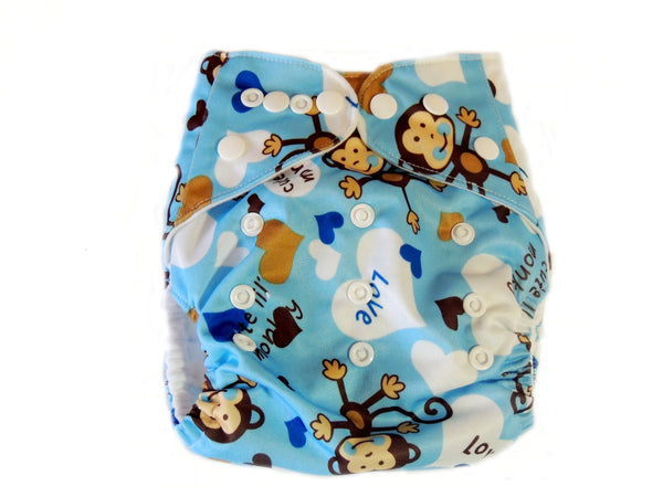 Pocket Cloth Diaper With Double Gussets - Blue Monkeys