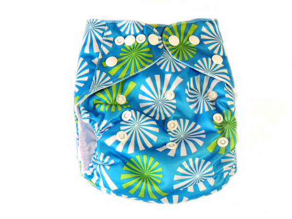 Pocket Cloth Diaper With Double Gussets - Blue Seashells
