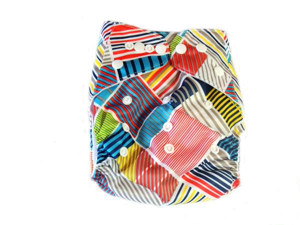 Pocket Cloth Diaper With Double Gussets - Patch Work