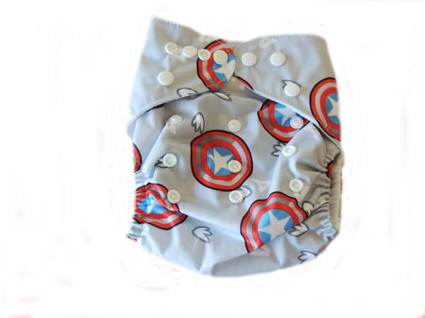 NEW Pocket Diaper With Double Gussets - Captain America