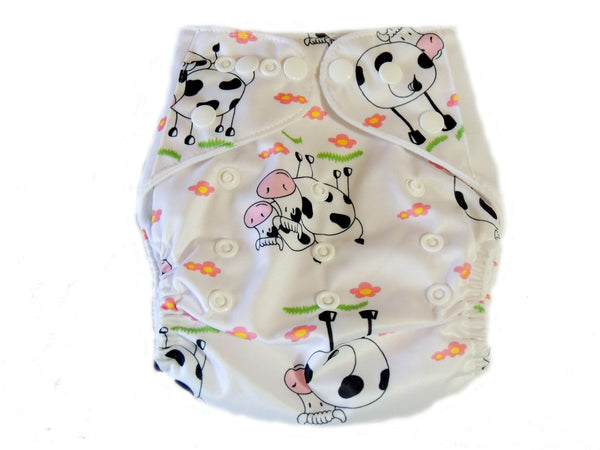 Pocket Cloth Diaper With Double Gussets - Cows
