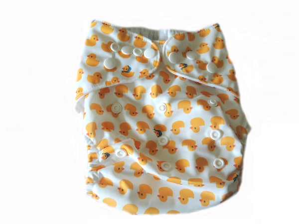 Pocket Cloth Diaper With Double Gussets - Duckies