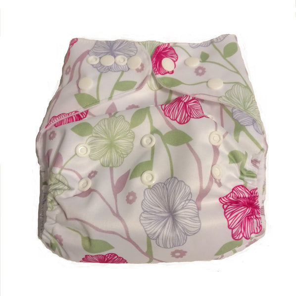 Pocket Diaper With Double Gussets - Ellegant Flowers