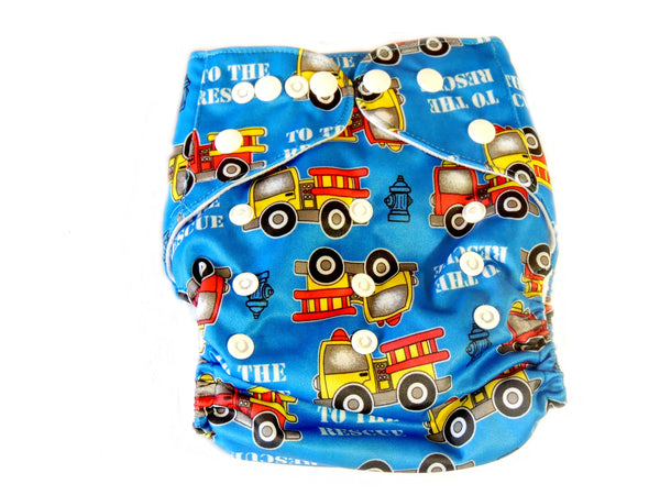 Newborn AIO Diaper With Double Gussets - Firetrucks