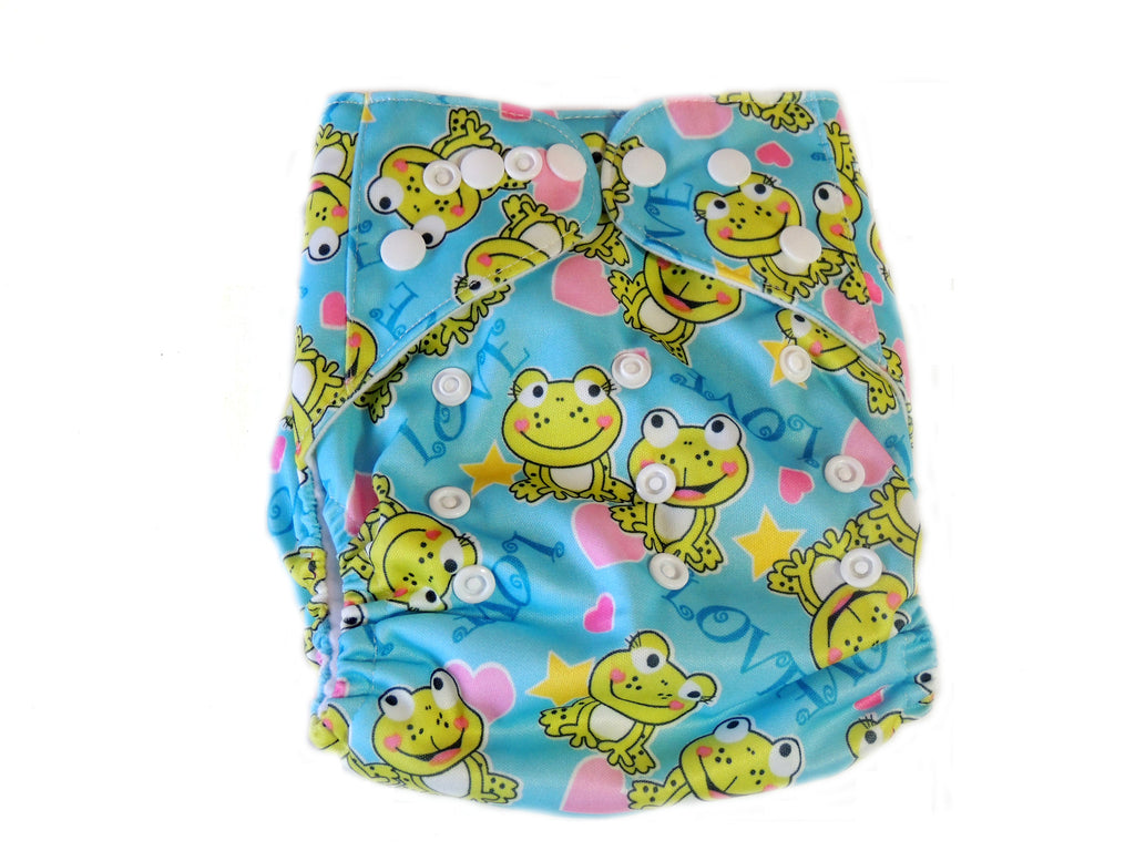 Pocket Cloth Diaper With Double Gussets - Frogs