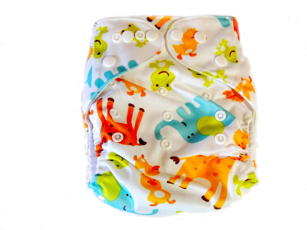 Newborn AIO Diaper With Double Gussets - Animals