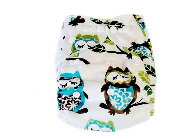Newborn AIO Diaper With Double Gussets - Green Owls