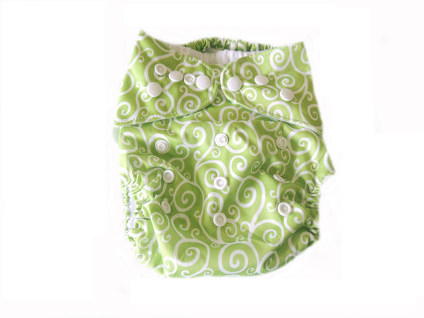 Pocket Cloth Diaper With Double Gussets - Green Scroll