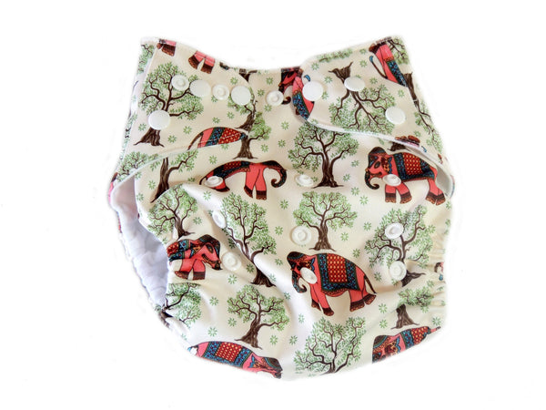 Pocket Cloth Diaper With Double Gussets - Indian Elephants