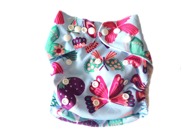 Pocket Cloth Diaper With Double Gussets - Pink Butterflies