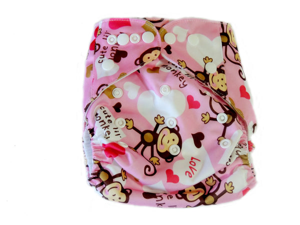 Newborn AIO Diaper With Double Gussets - Pink Monkeys
