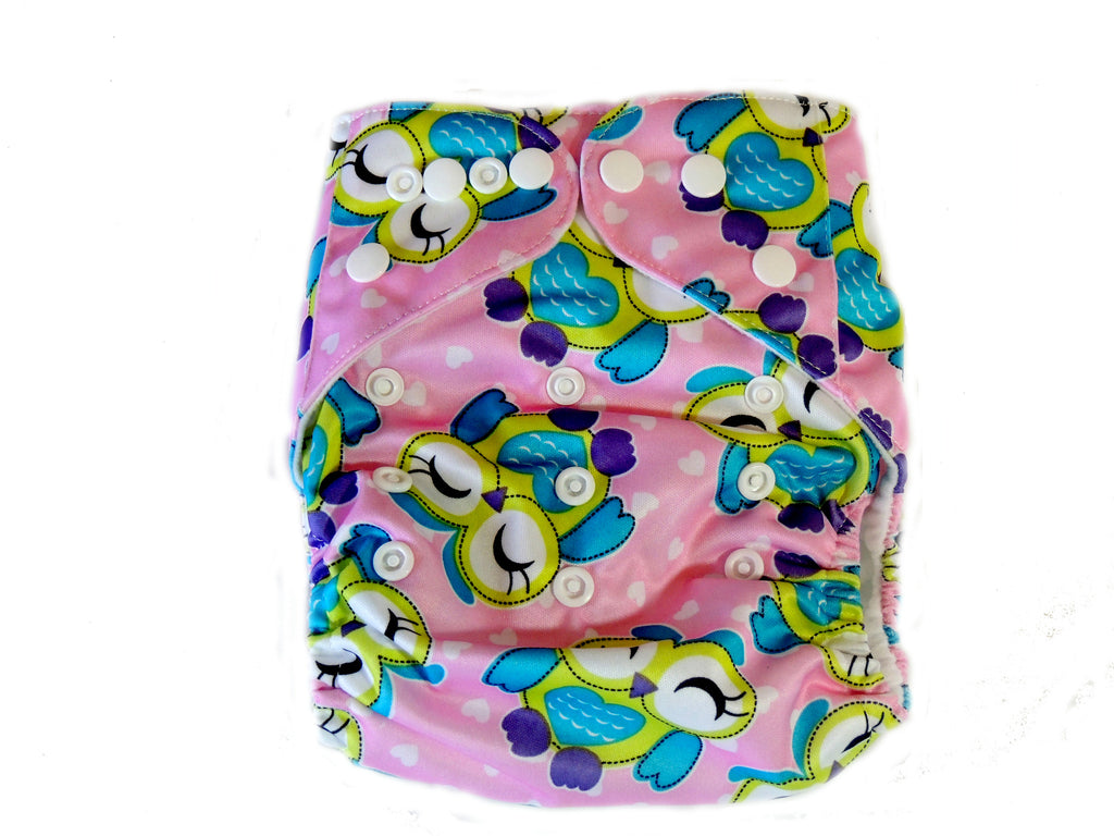 Pocket Cloth Diaper With Double Gussets - Pink Owls