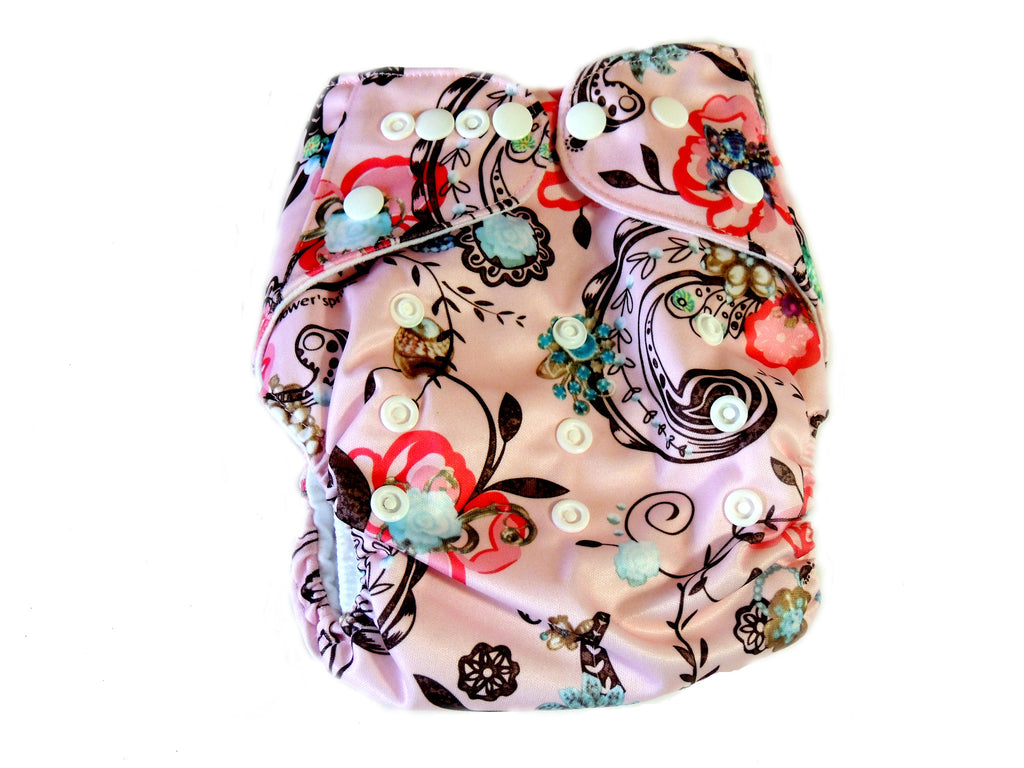 Pocket Cloth Diaper With Double Gussets - Pink Paisley