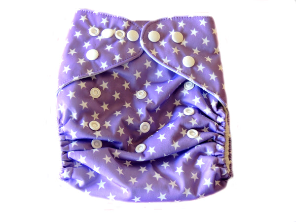 NEW Pocket Diaper With Double Gussets - Purple Stars