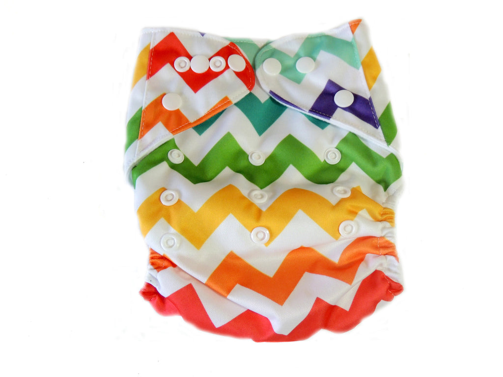 Pocket Cloth Diaper With Double Gussets - Rainbow Chevron