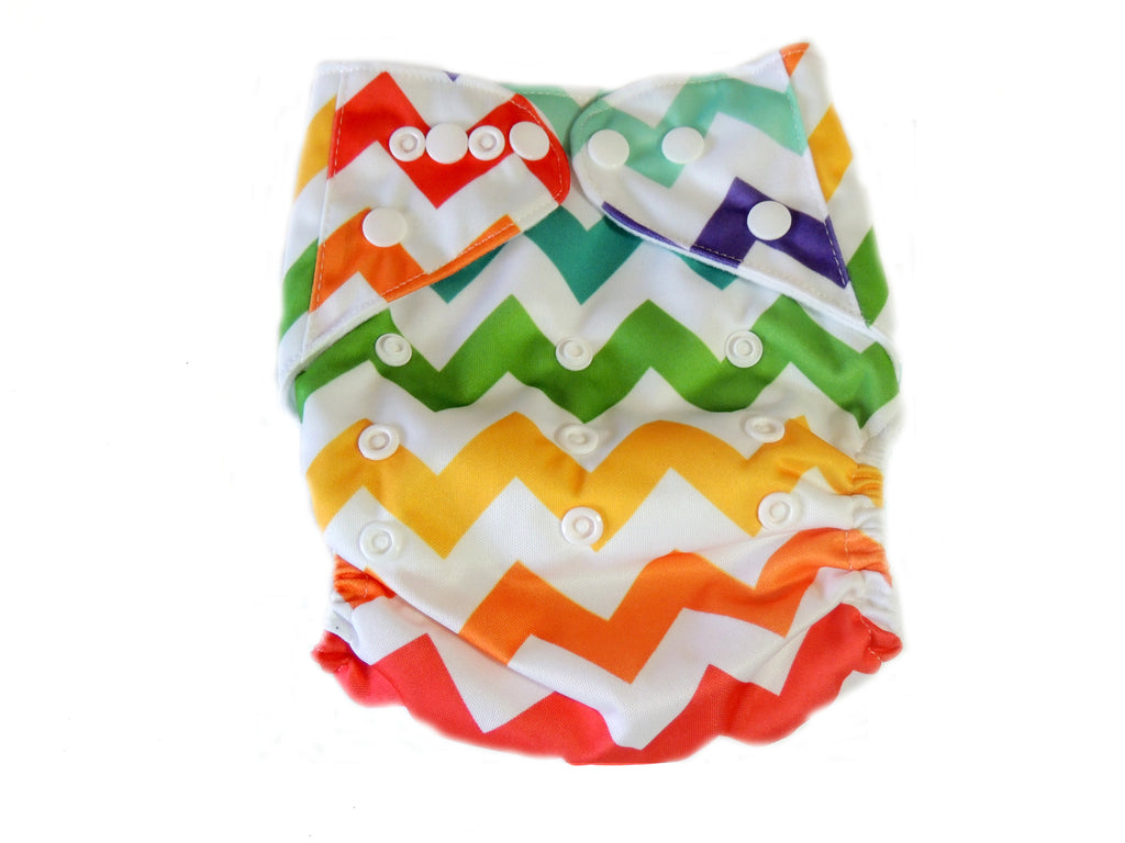 Newborn AIO Diaper With Double Gussets - Rainbow Chevron