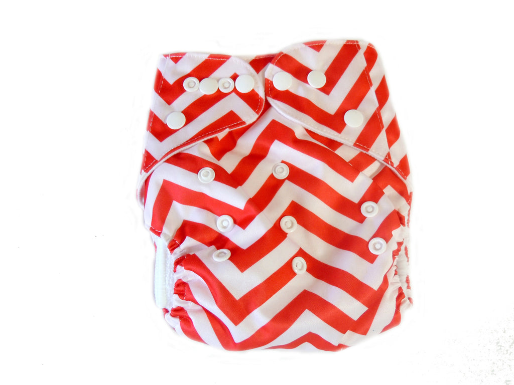 Pocket Cloth Diaper With Double Gussets - Red Chevron