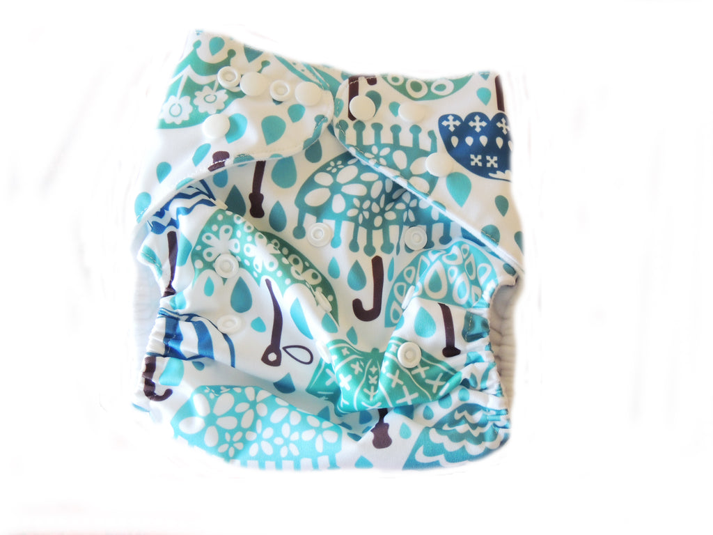 NEW Pocket Diaper With Double Gussets - Umbrellas