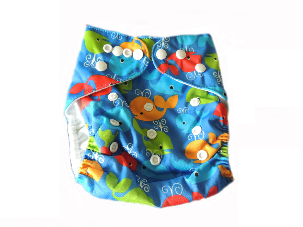 Pocket Diaper With Double Gussets - Whales