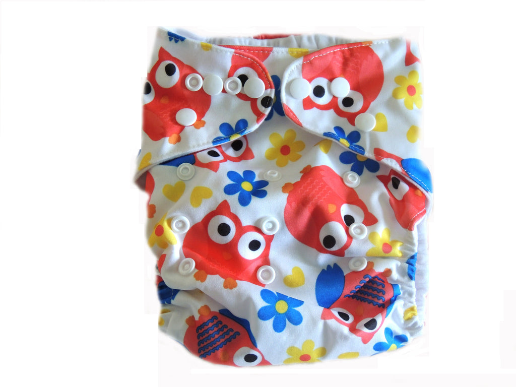 Pocket Cloth Diaper With Double Gussets - Orange Owls & Flowers