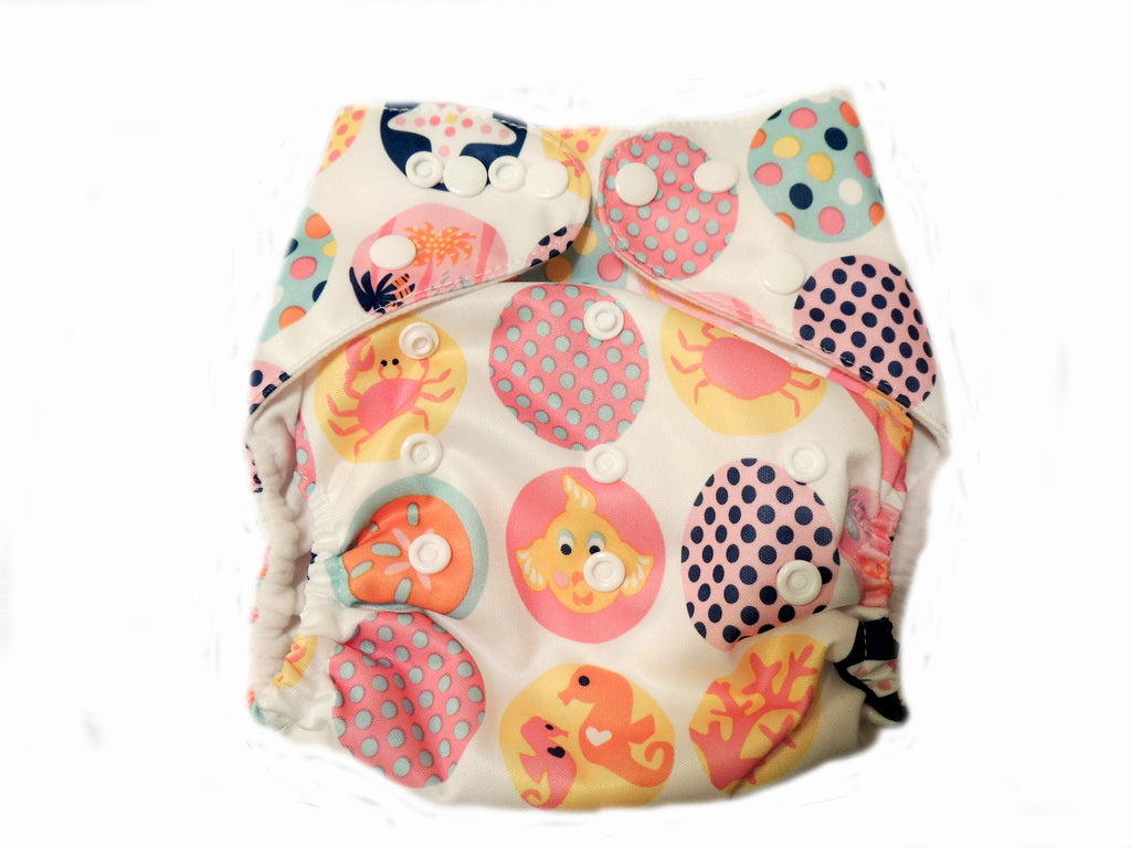 Pocket Diaper With Double Gussets - Sea Creatures
