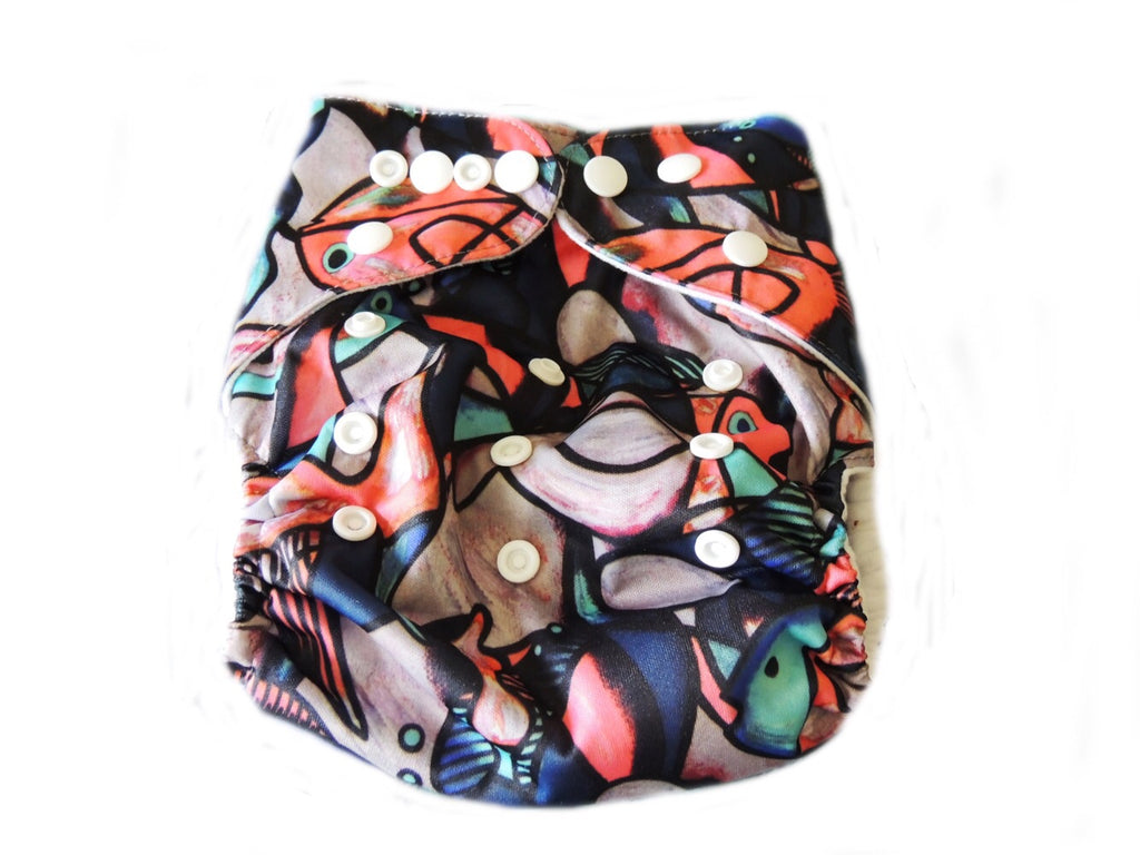 NEW Pocket Diaper With Double Gussets - Fish