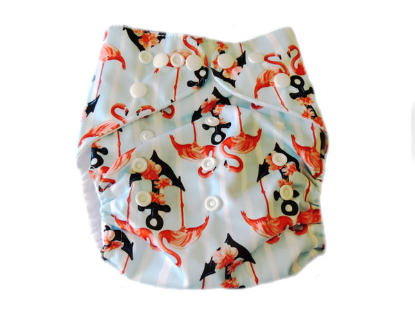 Pocket Diaper With Double Gussets - Flamingoes & Anchors