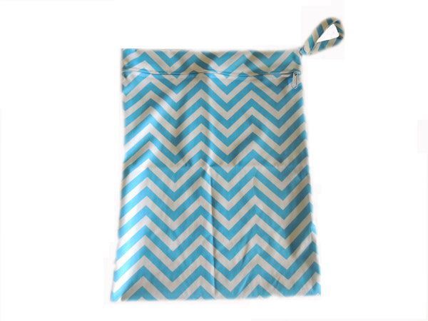 Wet Bag - Blue Chevron