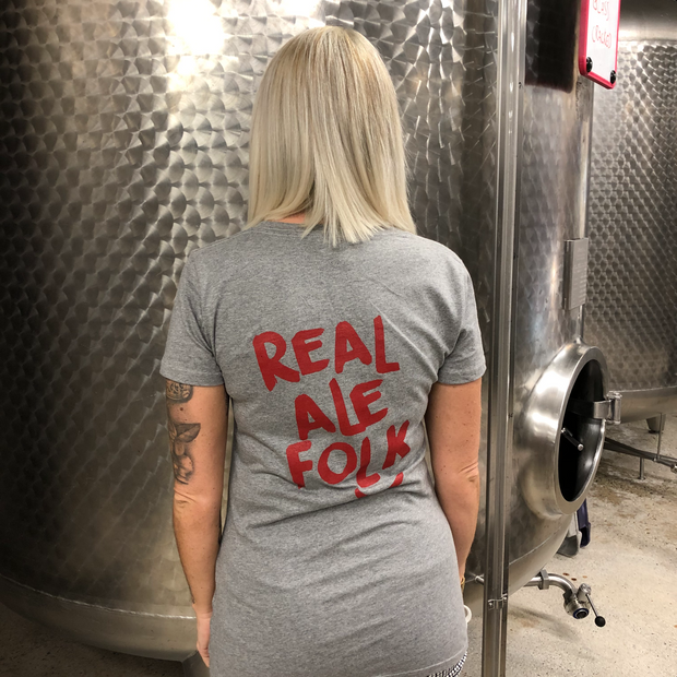 Heather Grey Ladies T-shirt for proud 'Real Ale Folk'- Last Chance to Buy! (ONLY £4.95 FOR FIRST T SHIRT WHEN PURCHASED WITH ANY BEER THIS JANUARY & FEBRUARY!)