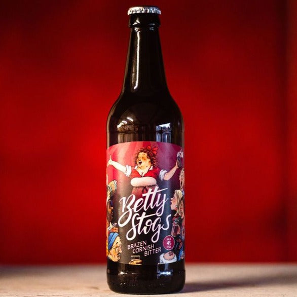 Betty Stogs, 4% abv, Brazen Cornish Bitter, 12 x 500ml Bottle Case