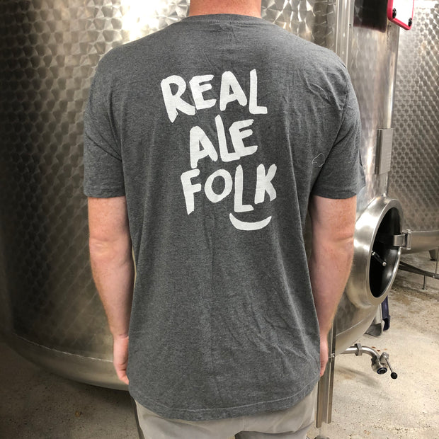 Dark Grey T-shirt for proud 'Real Ale Folk'- Last Chance to Buy! (ONLY £4.95 FOR FIRST T SHIRT WHEN PURCHASED WITH ANY BEER!)