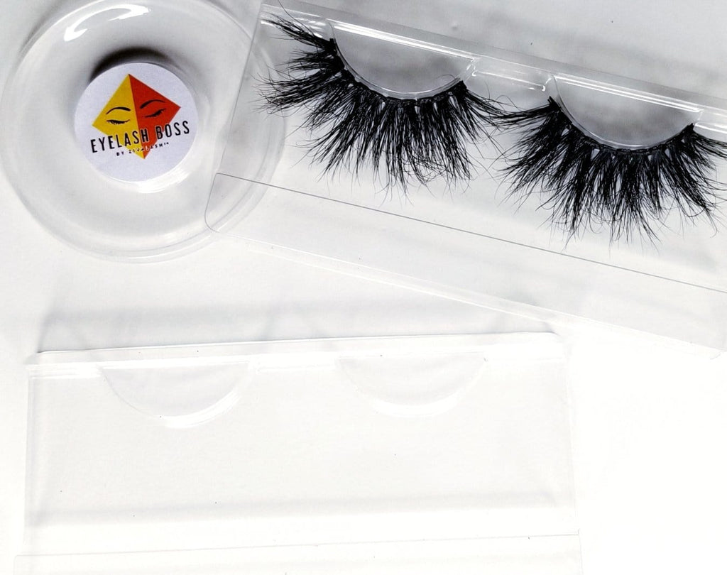 Set of 50- 25mm Clear rectangle plastic eyelash trays - ZivaLash Silk, Mink &Fashion Lashes