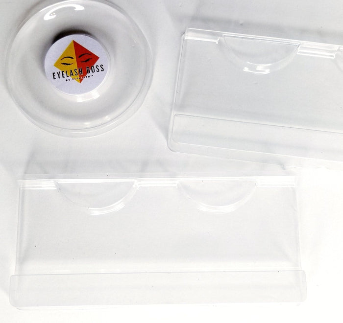 Sold in Sets of 50- 25mm Clear rectangle plastic eyelash trays - ZivaLash Silk, Mink &Fashion Lashes