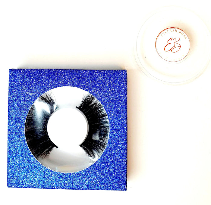 Blueberry Affordable Glitter Eyelash Case Box - ZivaLash Silk, Mink &Fashion Lashes