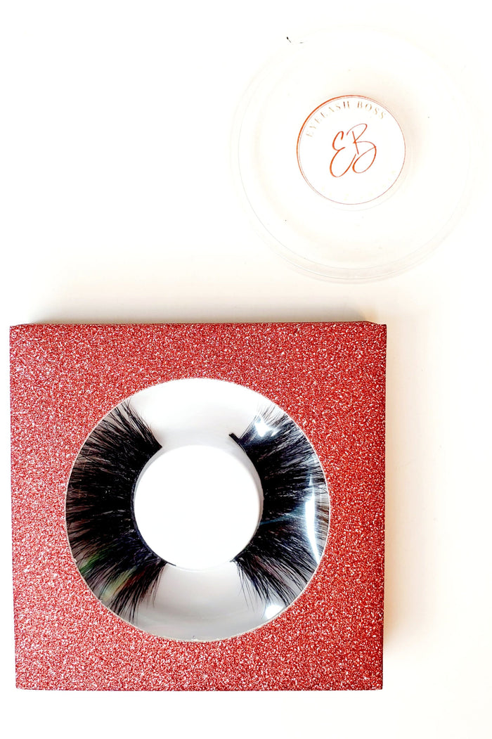 Red Apple Affordable Glitter Eyelash Case Box - ZivaLash Silk, Mink &Fashion Lashes