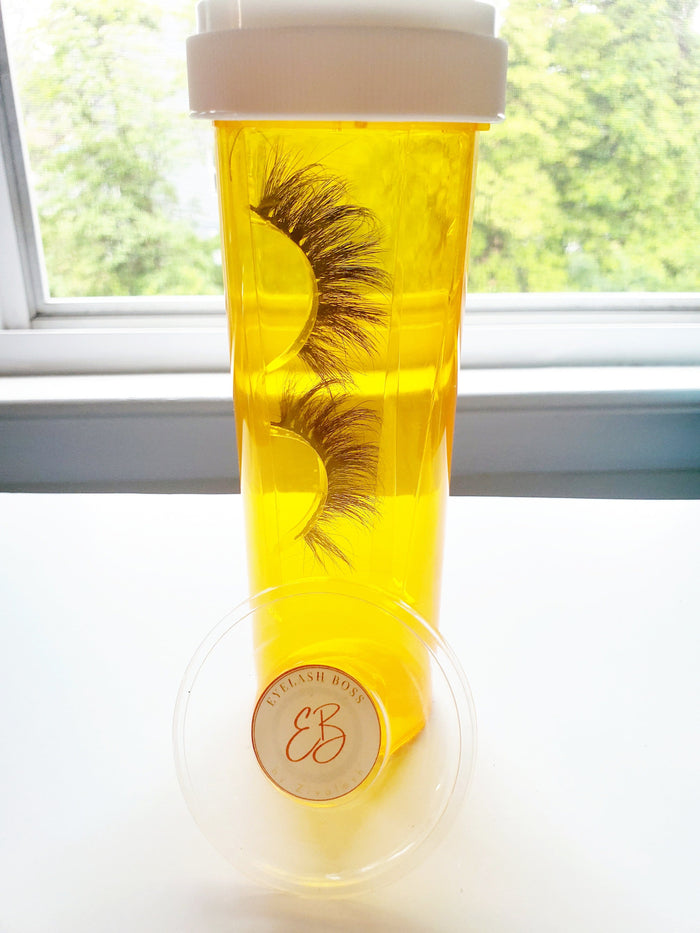 Pill Bottle Eyelash Case - ZivaLash Silk, Mink &Fashion Lashes
