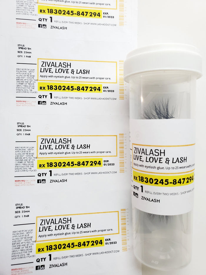 8 Custom Pill Bottle Labels - White - ZivaLash Silk, Mink &Fashion Lashes