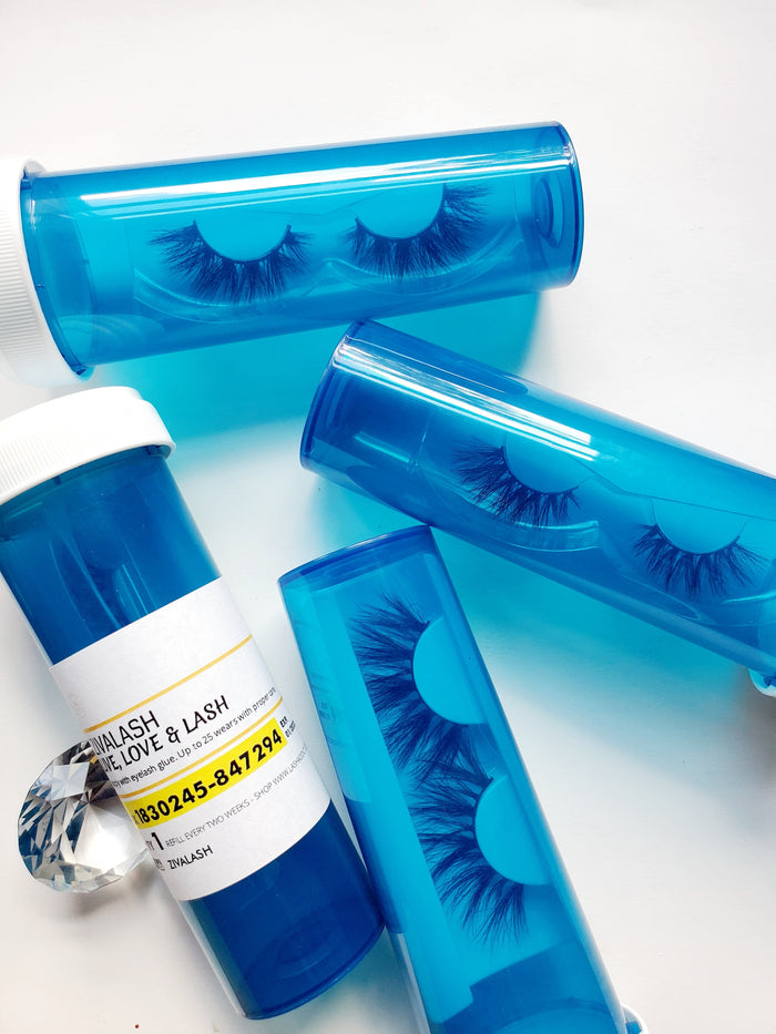 Olympic Blue Pill Bottle Eyelash Case - ZivaLash Silk, Mink &Fashion Lashes