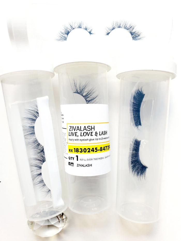 Clear Transparent -Pill Bottle Eyelash Case - ZivaLash Silk, Mink &Fashion Lashes