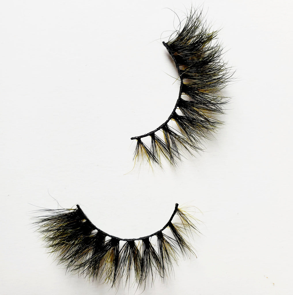 D&S Good Pain Black/Yellow Colored Mink Eyelashes - ZivaLash Silk, Mink &Fashion Lashes