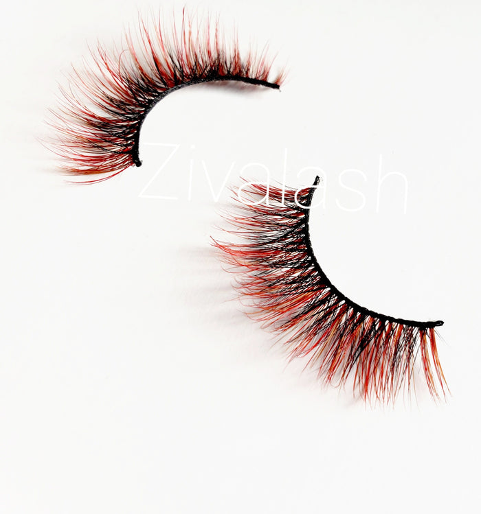 Whip n Chains Black & Red Colored Mink Eyelashes - ZivaLash Silk, Mink &Fashion Lashes